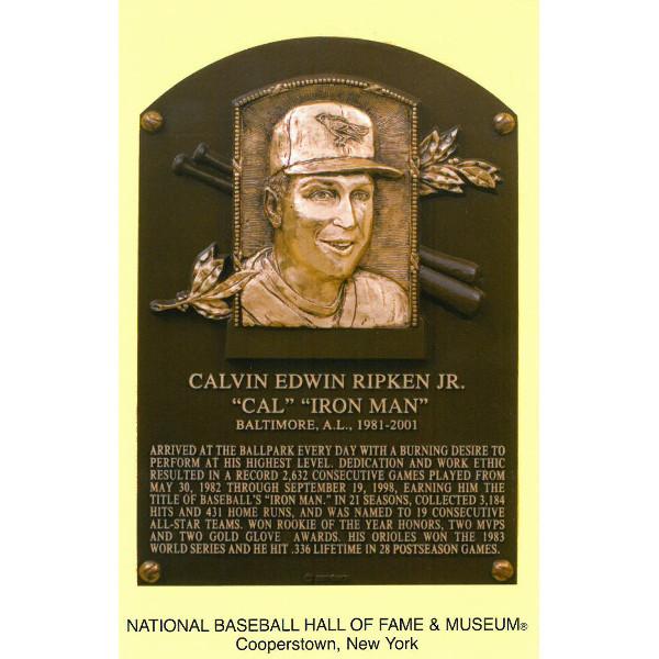 Cal Ripken Jr. Baseball Hall of Fame Plaque Postcard