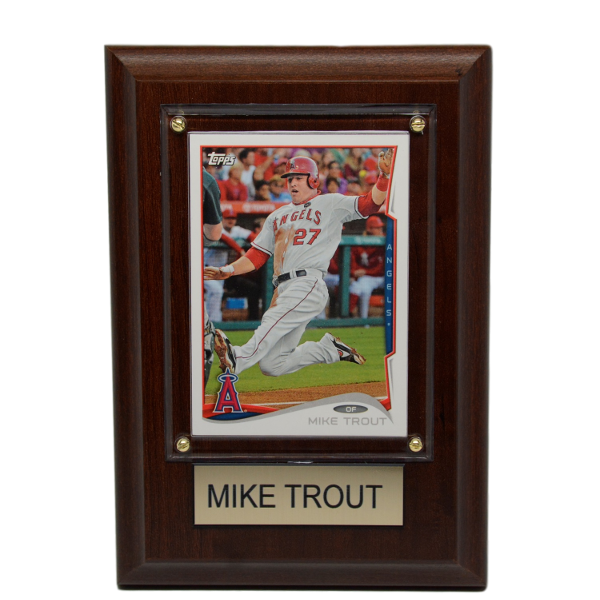 """Mike Trout Los Angeles Angels 4"""" x 6"""" Baseball Card Plaque"""
