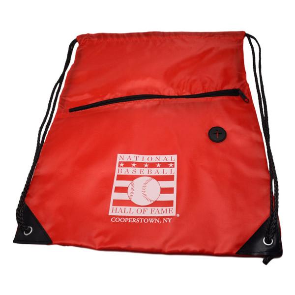 Baseball Hall of Fame Logo Red Back Sack Drawstring Bag