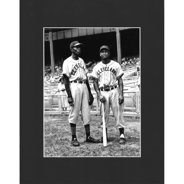 Matted 8x10 Photo- Larry Doby & Satchel Paige
