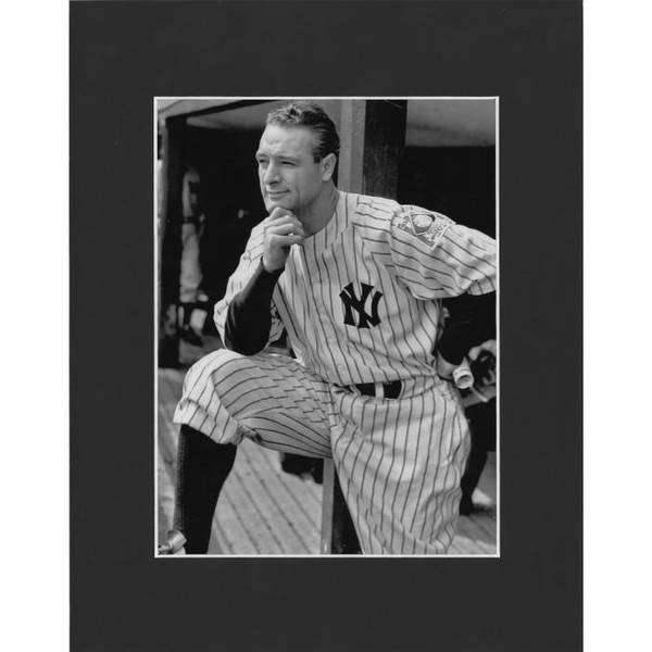 Matted 8x10 Photo- Lou Gehrig Kneeling