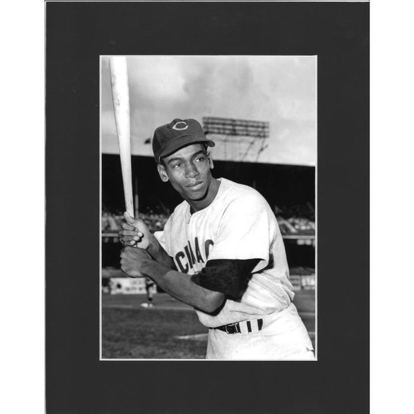Matted 8x10 Photo- Ernie Banks with Bat