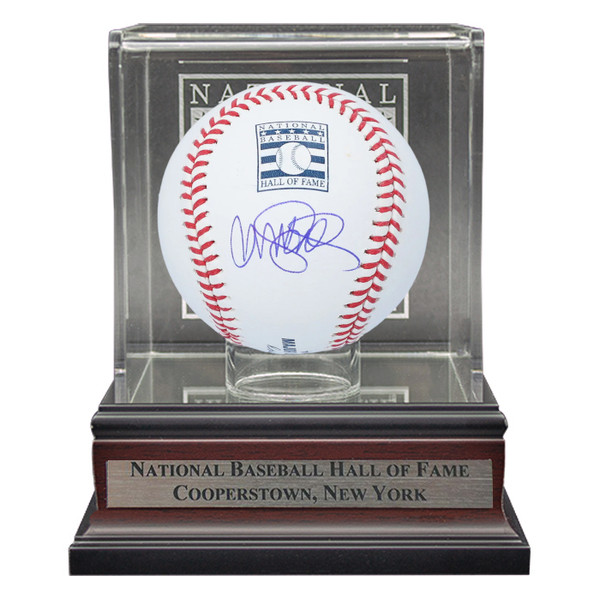 Ryne Sandberg Autographed Hall of Fame Logo Baseball with HOF Case (MAB)