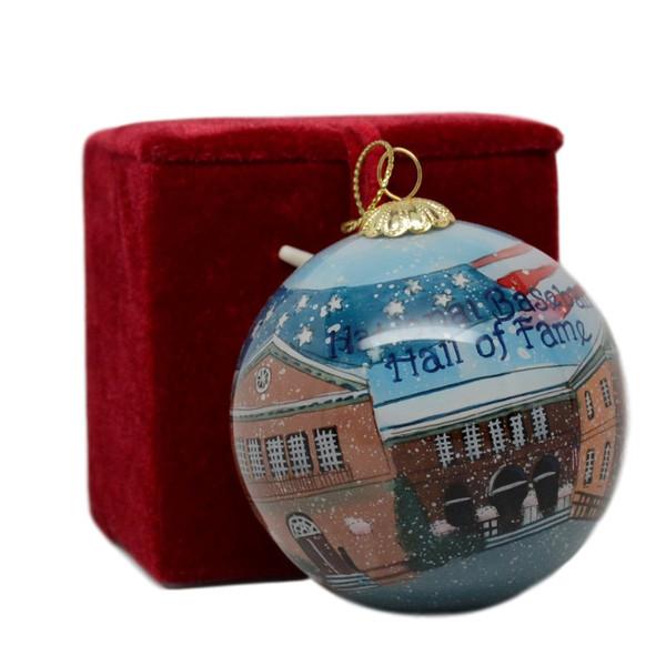 Baseball Hall of Fame Glass Holiday Ornament