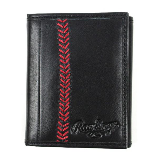 Rawlings Baseball Stitch Black Tri-Fold Wallet