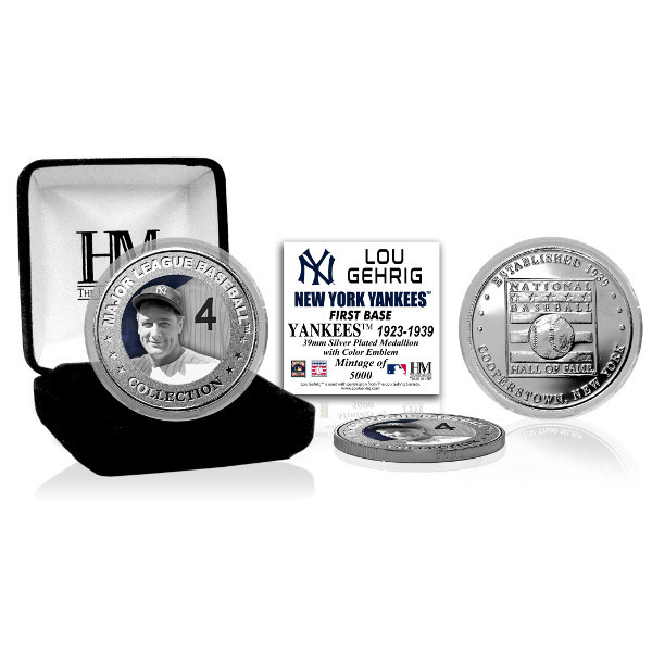 Highland Mint Lou Gehrig New York Yankees Hall of Fame Silver Photo Coin