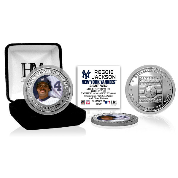 Highland Mint Reggie Jackson New York Yankees Hall of Fame Silver Photo Coin