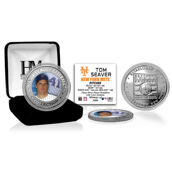 Highland Mint Tom Seaver New York Mets Hall of Fame Silver Photo Coin