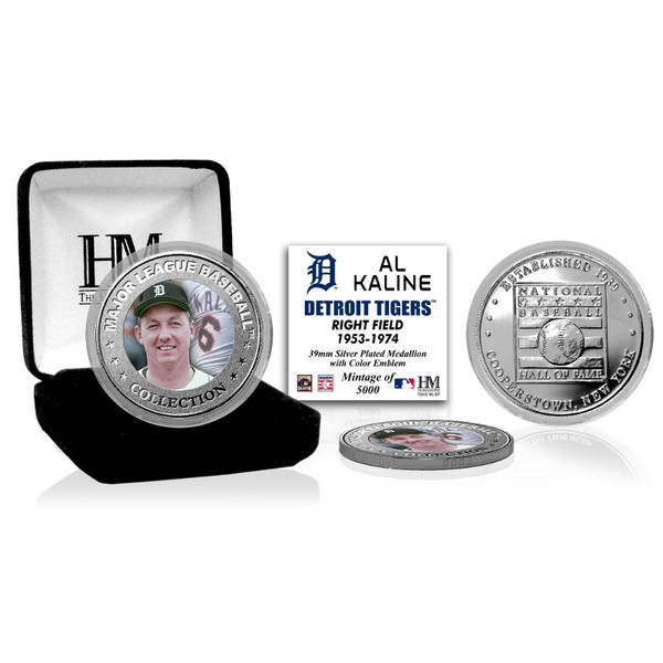Highland Mint Al Kaline Detroit Tigers Hall of Fame Silver Photo Coin