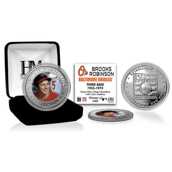 Highland Mint Brooks Robinson Baltimore Orioles Hall of Fame Silver Photo Coin