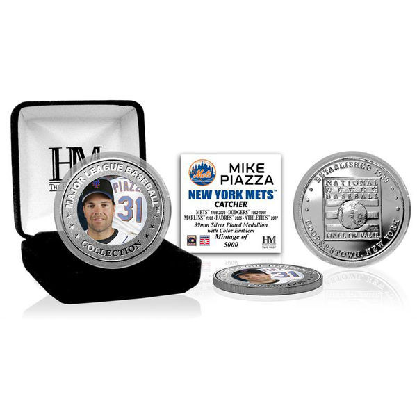 Highland Mint Mike Piazza New York Mets Hall of Fame Silver Photo Coin