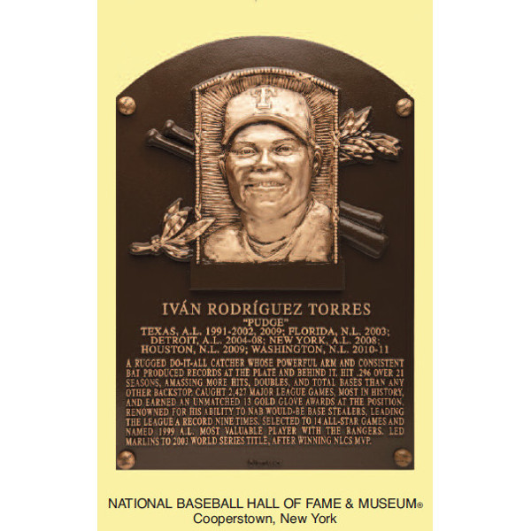 Ivan Rodriguez Baseball Hall of Fame Plaque Postcard (English)