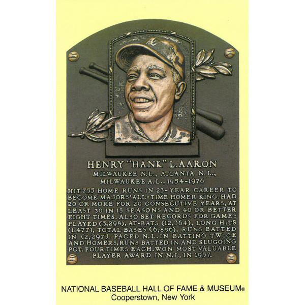 Hank Aaron Baseball Hall of Fame Plaque Postcard