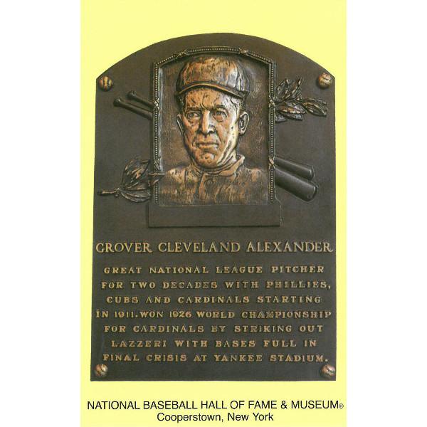 Grover Cleveland Alexander Baseball Hall of Fame Plaque Postcard