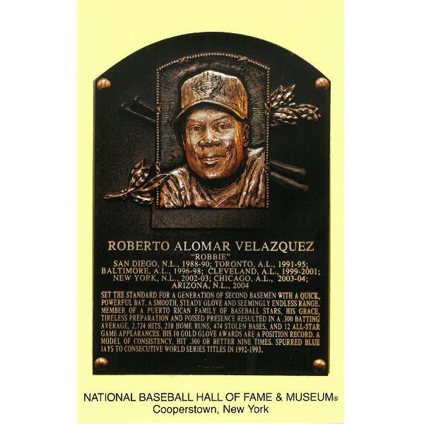 Roberto Alomar Baseball Hall of Fame Plaque Postcard