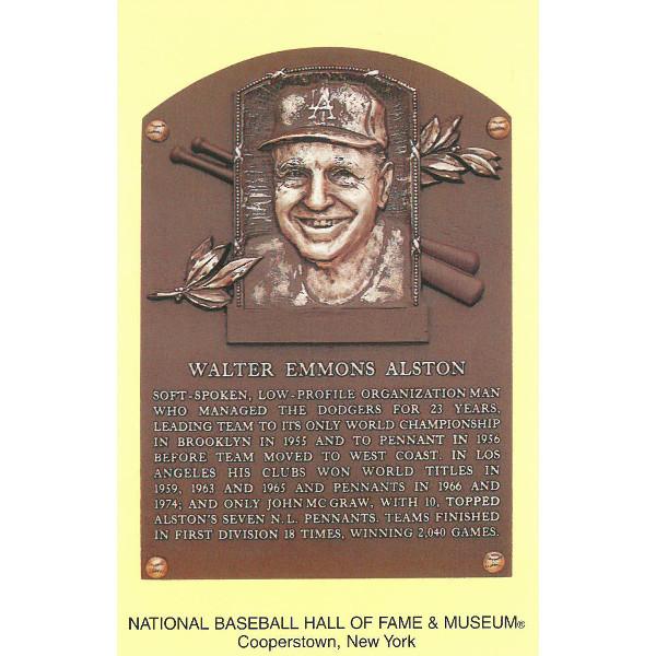 Walter Alston Baseball Hall of Fame Plaque Postcard