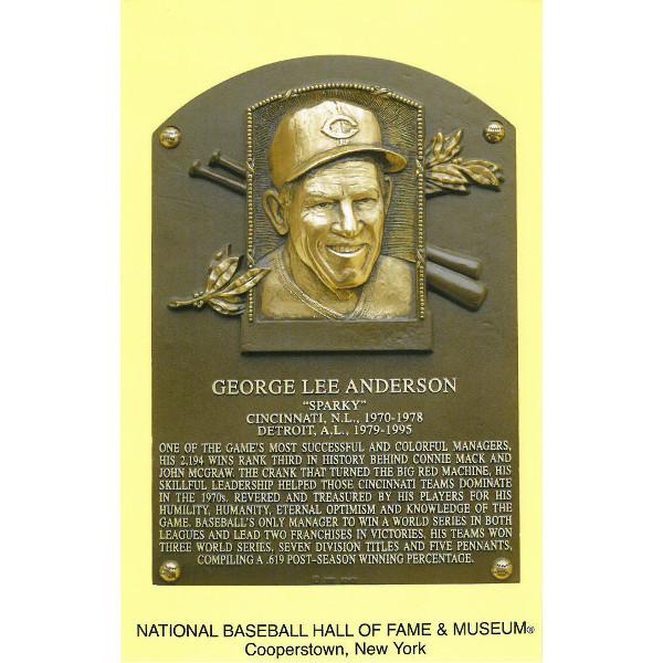 Sparky Anderson Baseball Hall of Fame Plaque Postcard