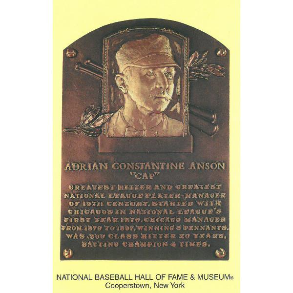 Cap Anson Baseball Hall of Fame Plaque Postcard