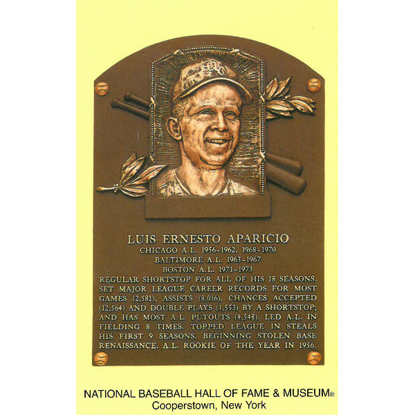Luis Aparicio Baseball Hall of Fame Plaque Postcard