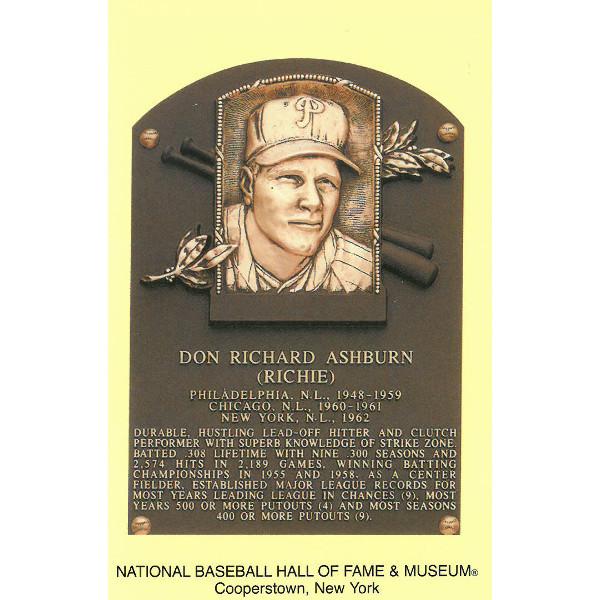 Richie Ashburn Baseball Hall of Fame Plaque Postcard
