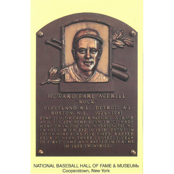Earl Averill Baseball Hall of Fame Plaque Postcard