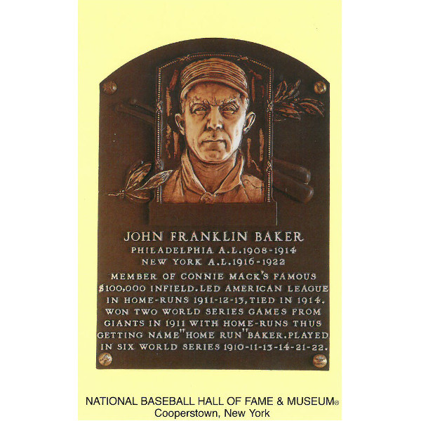 Frank Baker Baseball Hall of Fame Plaque Postcard