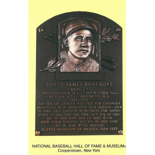 David Bancroft Baseball Hall of Fame Plaque Postcard