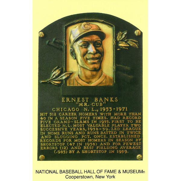 Ernie Banks Baseball Hall of Fame Plaque Postcard