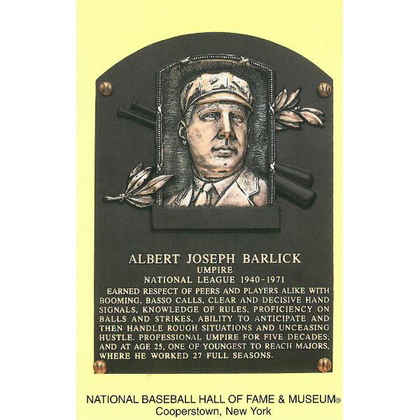 Al Barlick Baseball Hall of Fame Plaque Postcard