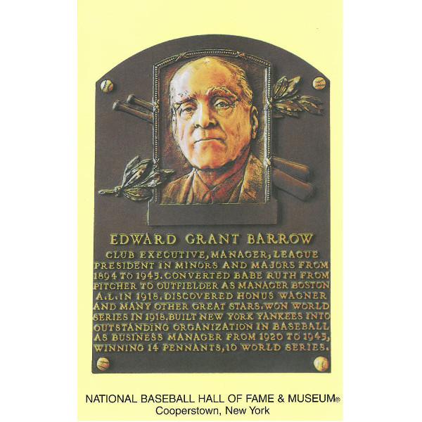 Ed Barrow Baseball Hall of Fame Plaque Postcard