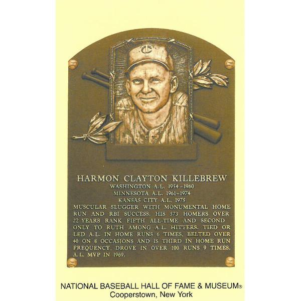 Harmon Killebrew Baseball Hall of Fame Plaque Postcard
