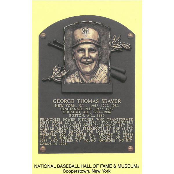 Tom Seaver Baseball Hall of Fame Plaque Postcard
