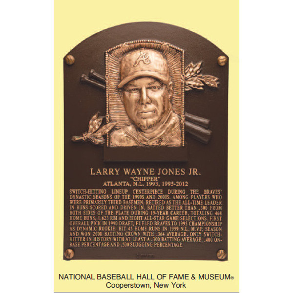 Chipper Jones Baseball Hall of Fame Plaque Postcard