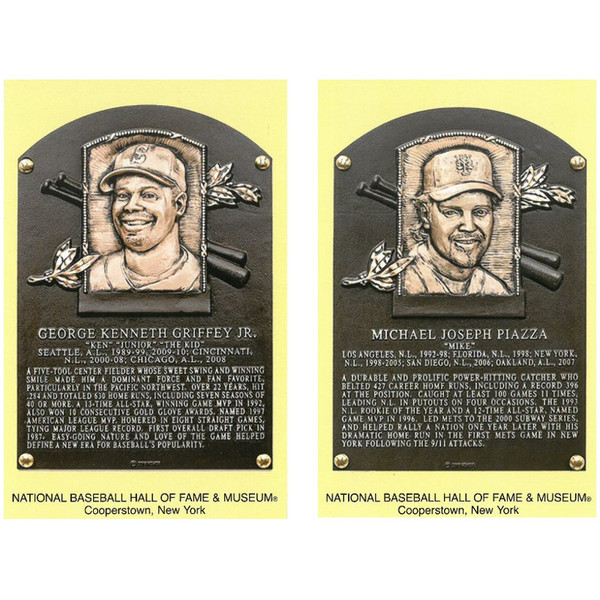 Class of 2016 Baseball Hall of Fame Plaque Postcard Set of 2 (Griffey Jr, Mike Piazza)