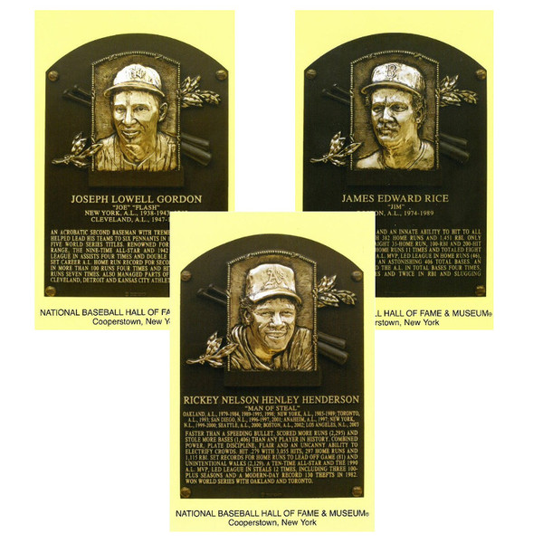 Class of 2009 Baseball Hall of Fame Plaque Postcard Set of 3 (Gordon, Henderson, Rice)