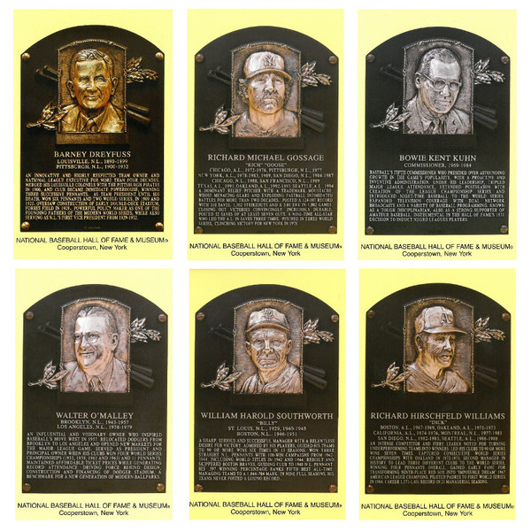 Class of 2008 Baseball Hall of Fame Plaque Postcard Set of 6 (Dreyfus, Gossage, Kuhn, O'Malley, Southworth, D. Williams)