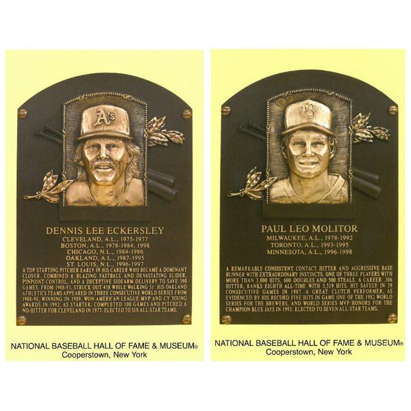 Class of 2004 Baseball Hall of Fame Plaque Postcard Set of 2 (Eckersley, Molitor)