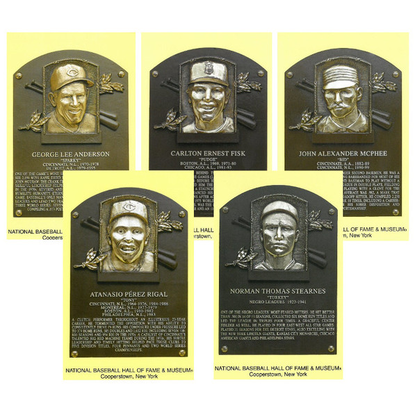 Class of 2000 Baseball Hall of Fame Plaque Postcard Set of 5 (Anderson, McPhee, Fisk, Perez, Stearnes)