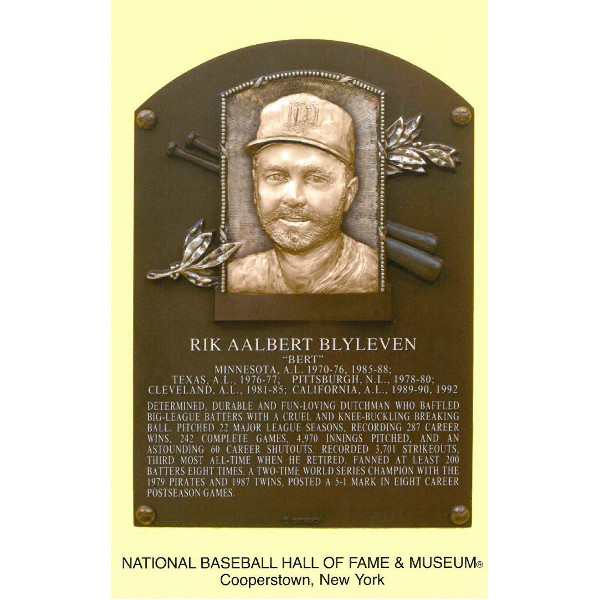 Bert Blyleven Baseball Hall of Fame Plaque Postcard