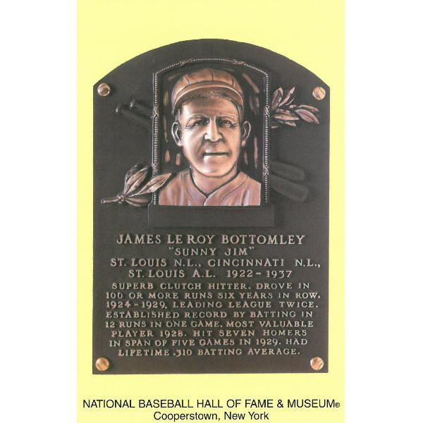 Jim Bottomley Baseball Hall of Fame Plaque Postcard