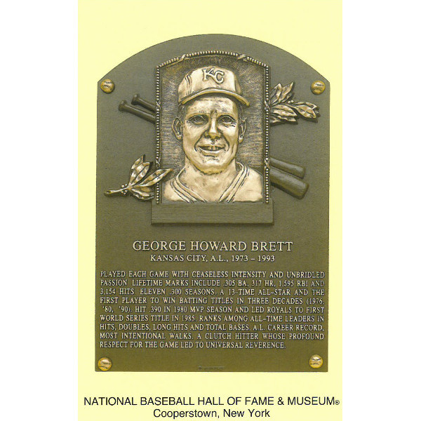 George Brett Baseball Hall of Fame Plaque Postcard
