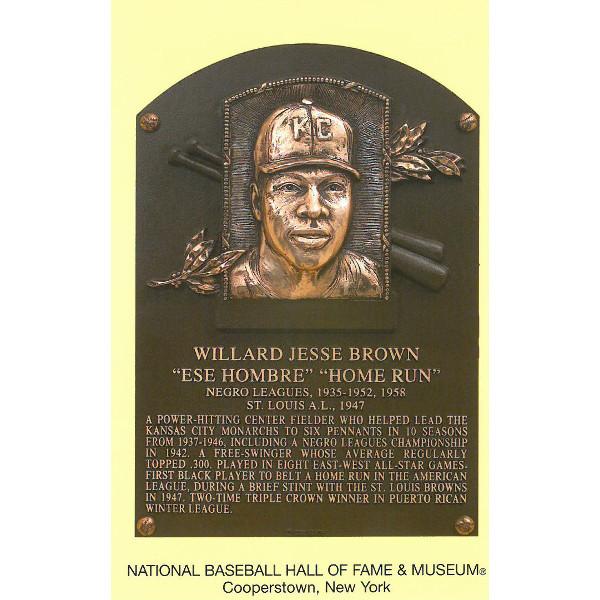 Willard Brown Baseball Hall of Fame Plaque Postcard