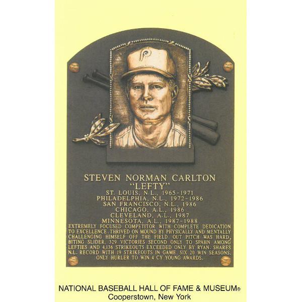 Steve Carlton Baseball Hall of Fame Plaque Postcard