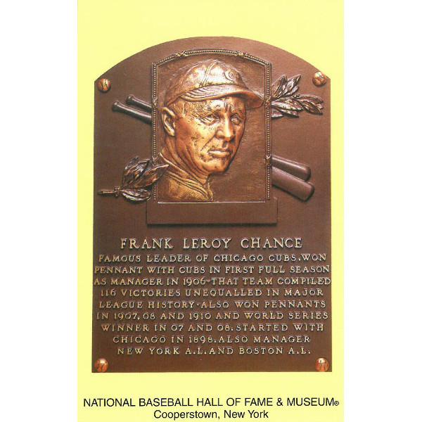 Frank Chance Baseball Hall of Fame Plaque Postcard