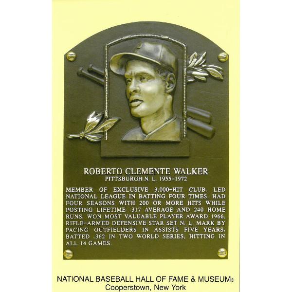 Roberto Clemente Baseball Hall of Fame Plaque Postcard