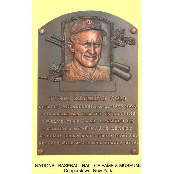 Ty Cobb Baseball Hall of Fame Plaque Postcard