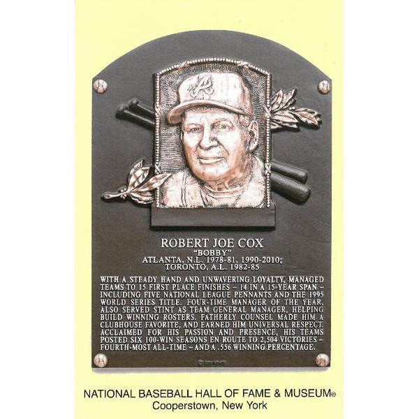 Bobby Cox Baseball Hall of Fame Plaque Postcard