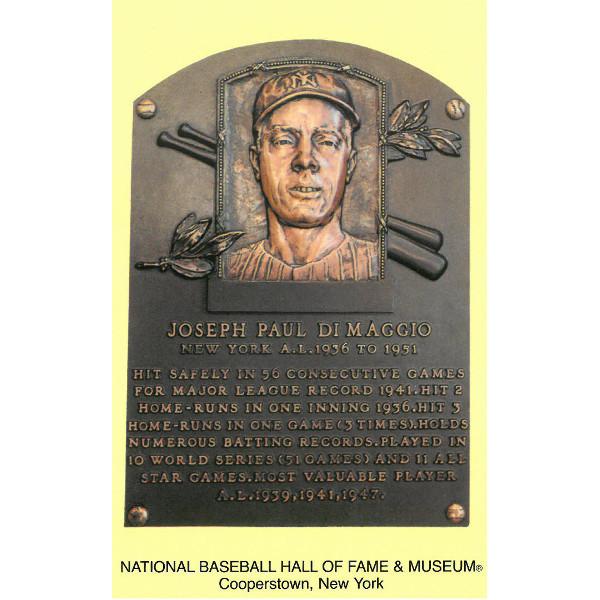 Joe DiMaggio Baseball Hall of Fame Plaque Postcard