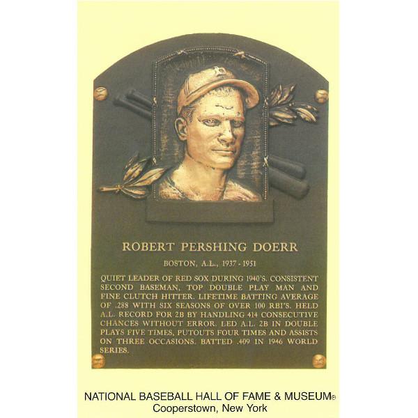 Bobby Doerr Baseball Hall of Fame Plaque Postcard
