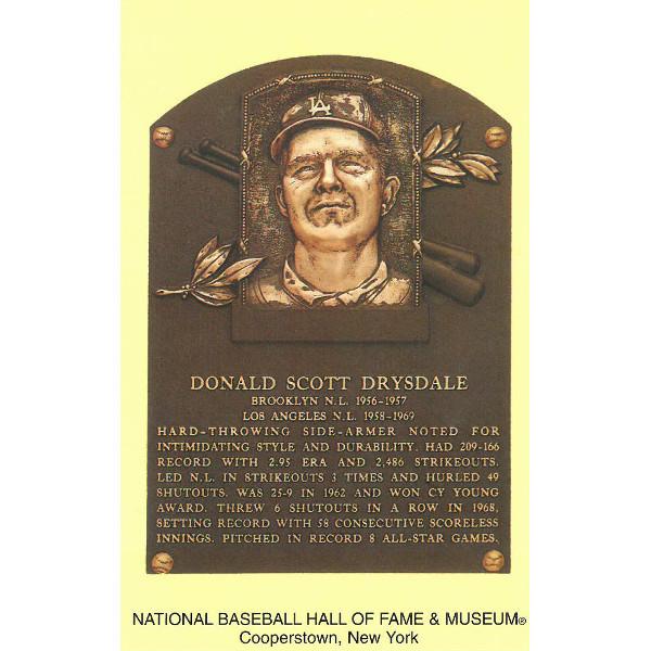Don Drysdale Baseball Hall of Fame Plaque Postcard